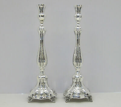 Tall 925 Sterling Silver Hand Wrought Chased Swirl Leaf Amedo Candelsticks