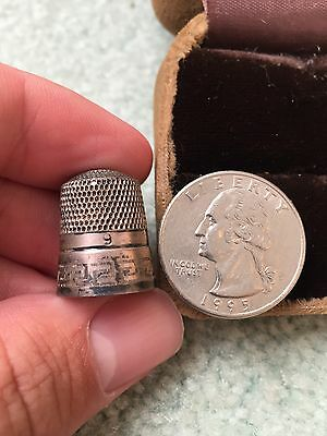Antique Sterling Silver Thimble Number 9 Simons Brothers - Cool Pattern