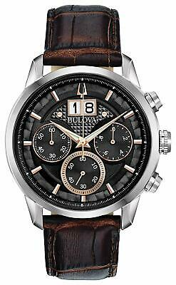 NEW Bulova Men's 96B311 Chronograph Sutton Brown Leather Strap 44 mm Watch