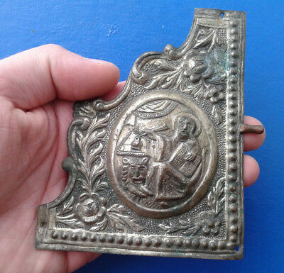 Ancient Bronze Book Cover  17 -18 century. Saint Mark with the Lion.
