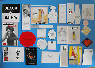 A collection of mid 1990s PERFUME test cards ideal for framing,young Kate Moss