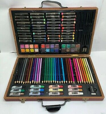 123 Professional Art Set Wooden Box Carrying Case