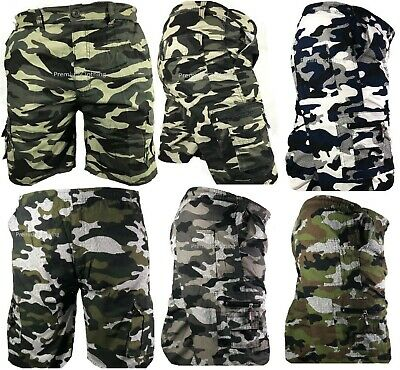 Mens Army Camouflage Cargo Elasticated Shorts Cotton Combat Half Pants Bottoms s