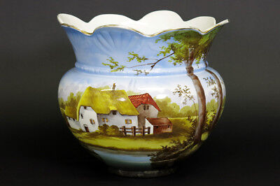 XL Antique 1935 NIMY faience ceramic PLANTER jardiniere country farm house