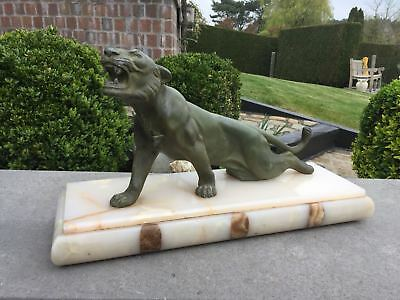 Gorgeous ART DECO 1930 onyx marble Spelter Bronze Green patina panther hunt