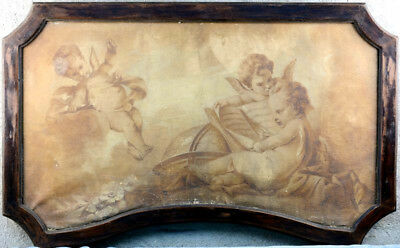 Antique 1800 Supraporta Grisaille oil canvas painting  putti allegory science
