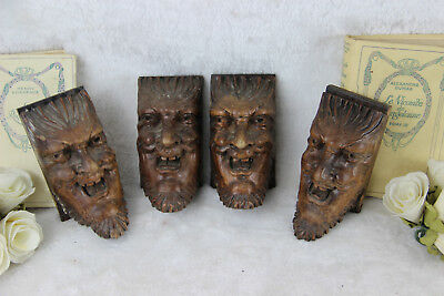 Set of 4 Antique XVIII Wood carved DEVIL gothic figurines head portrait ornament