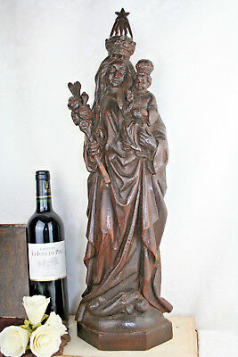 18th/19th HUGE XXL Antique French Wood oak carved MAdonna statue church