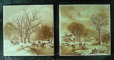 Rare Antique T & R Boote Christmas Tiles, 1849/1855 Skating Farmers & Market