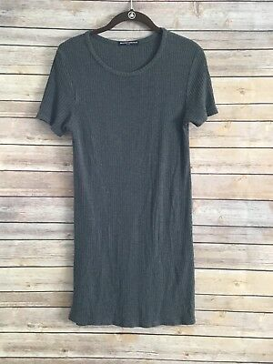 aff192f8a9 Brandy Melville Women's Gray Short Sleeve Ribbed Shirt Dress OS One Size
