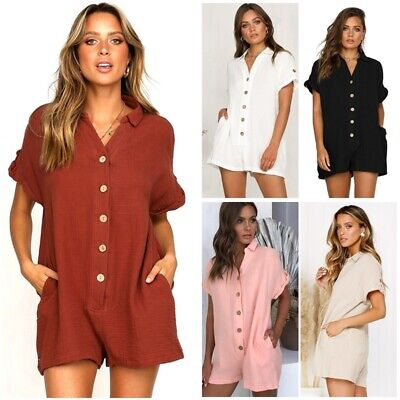 Fashion Womens Button Down Rompers Shirts Jumpsuit Shorts Casual Beach Overalls
