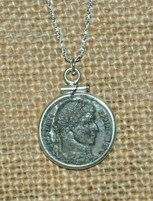Authentic Ancient Constantine the Great Roman Empire Coin 925 Silver Necklace