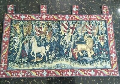 "Antique 19c Aubusson French woven  Tapestry Beautiful Color size39""x22cm99x56"