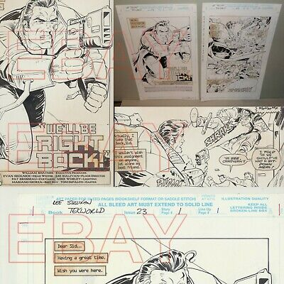 ORIGINAL ARTWORK splash pages  MARVEL comics WILLIAM SHATNER TEKWORLD  2 pages