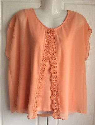 Laura Ashley Size 16 Womens Ladies Peach Top with lace Summer Casual