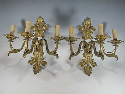Vintage French pair of bronze wall sconces # 11021