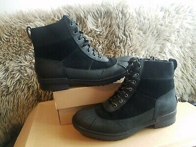 5d202a7b536 NEW WOMENS UGG Cayli Black Leather Suede Sheepskin Lined Duck Boots ...
