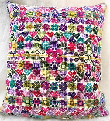 "GOODLUXE ""FAIRISLE"" NEEDLEPOINT CUSHION in PURE WOOL 15"" x13"" HANDMADE!"