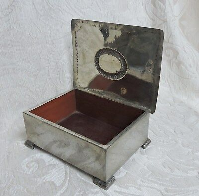 Arts & Crafts Hammered Tin Jewel 0r Cigarette Box with Wood Lining Sweden c1900