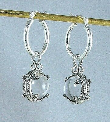 Museum Reproduction of Viking Rock Crystal Earrings Sterling Sweden 9-11 Century