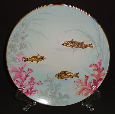 Antique Victorian Porcelain Plate Hand Painted Gold Fish Rare Pointons England