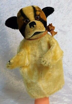 Vtg 1950'S Steiff German Bully Bulldog Dog Mohair Puppet Stuffed Animal 9""