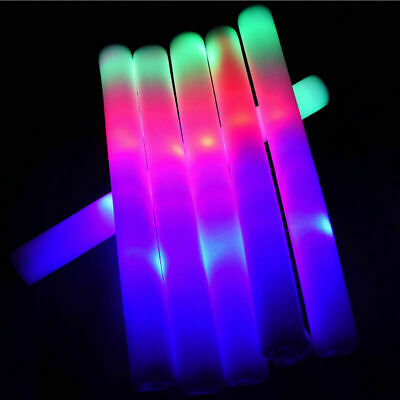 Colorful Light Up LED Changing Color Foam Sticks Rally Rave Baton Party Wand