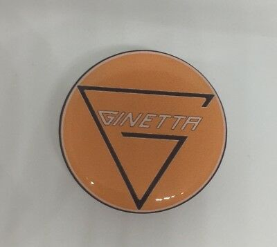 38mm GINETTA GEL RESIN DOMED CUSTOM  STICKERS BADGE ORANGE /& GREY