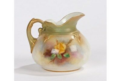 Royal Worcester Jug, The Exterior With Yellow And Puce Rose Decoration