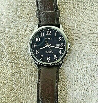 3976bbcf2 TIMEX MEN'S INDIGO Easy Reader Blue Dial Watch, Brown Leather Band ...