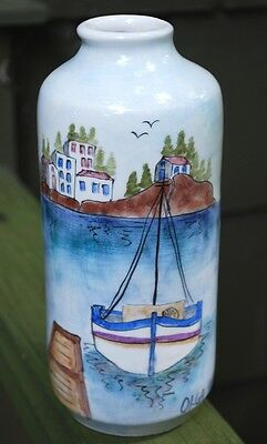 Hand Painted Handmade GREEK Vase Seashore Village Scene Keramica Greece Lovely