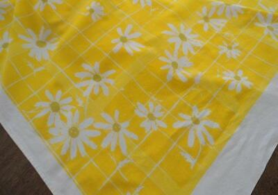 Vintage 60s Yellow Printed Cotton Tablecloth Retro Daisies Mod Floral 76""