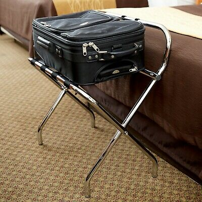 Chrome Folding Heavy Duty Metal Luggage Rack with Guard and Rubber Feet