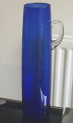 Unusual Vintage Scandinavian Art Glass Jug Vase 23 cm Tall Blue / Clear Handle