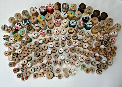 Huge Lot Of 165 Wooden Spools With / Without Threads ~ ESTATE