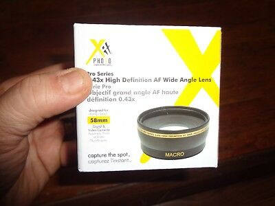 NIB X Photo Lens Pro Series 0.43 x High Definition AF Wide Angle Lens 58 mm