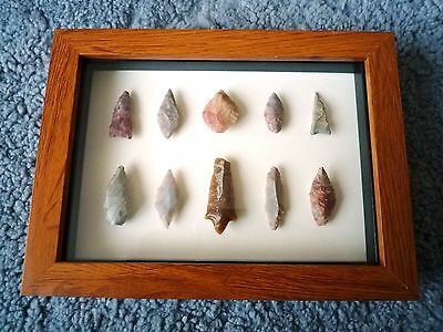 Neolithic Arrowheads in 3D Picture Frame, Authentic Artifacts 4000BC (0892)