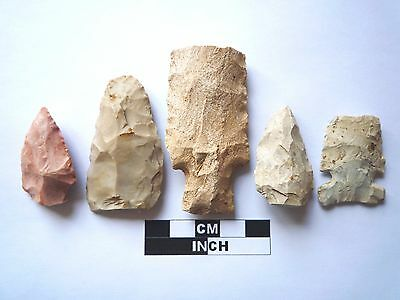 Native American Arrowheads x 5, Genuine Archaic Artifacts, 1000BC-8000BC (963)
