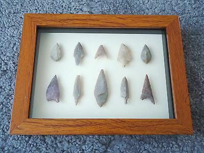 Neolithic Arrowheads in 3D Picture Frame, Authentic Artifacts 4000BC (0454)