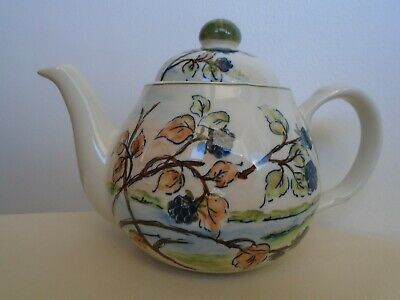 Ventnor Ceramics Hand Painted Porcelain Teapot - Blackberry