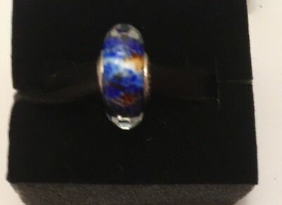 Pandora Abstract Faceted Fritt Silver Murano Charm brand new  in pandora pouch