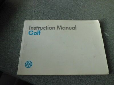 VW Golf Instruction manual - MK 2   1989