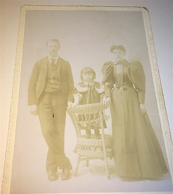 Antique Victorian American Fashion Family, Adorable Girl on Chair Cabinet Photo!