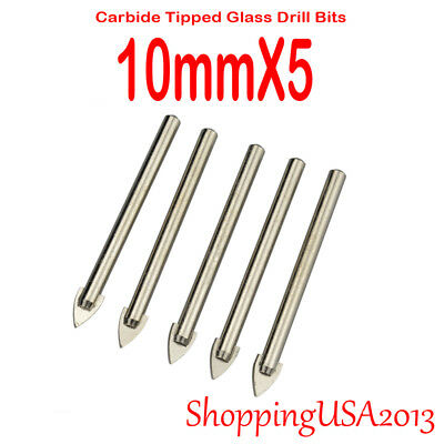 5 Pc 10mm Carbide Tip Glass Alloy Drill Bit Set Hole Saw Cutter Tool Mirror Tile