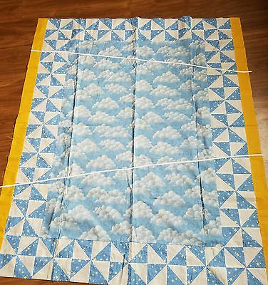 """Unfinished Quilt Top- Hand Made 54  x 46"""" Blue Clouds Stars Yellow Sweet"""