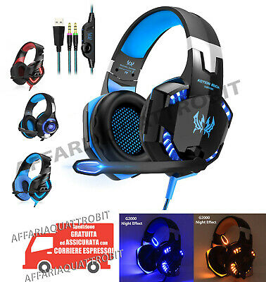 Cuffie gioco microfono led rgb luce usb Gaming pc console ps4 xbox multiplayer