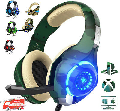 Cuffie Gioco con microfono led usb Cuffia Gaming pc ps4 xbox militare colorate