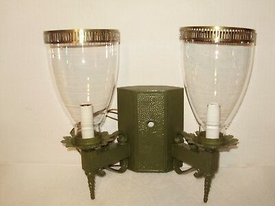 1950's FRENCH -ART DECO- GREEN DOUBLE IRON ELECTRIC WALL LIGHT!