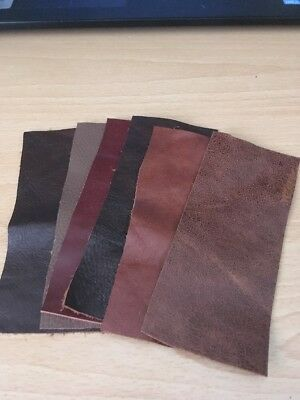 6 Xbrown Leather Offcuts/ Scraps/ Remnants For Patchwork / Repairs+ Crafts