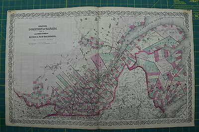 Dominion of Canada Vintage Original Antique 1870 Colton World Atlas Map